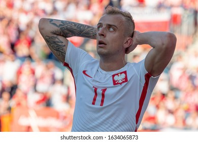 WROCLAW, POLAND - MARCH 26, 2016: Kamil Grosicki from Poland during the friendly football match between Poland and Finland at the Municipal Stadium in Wroclaw.
