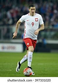 WROCLAW, POLAND, MARCH 26,  2016: Inernational Friendly football game Poland - Finlando/p Robert Lewandowski