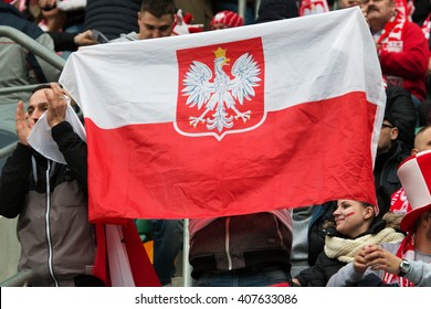 WROCLAW, POLAND - MARCH 26, 2016: Polish fans during the friendly football match between Poland and Finnland at the Municipal Stadium in Wroclaw.