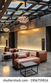 Wroclaw, Poland - March 7 2020 Interior of new modern The Bridge Hotel