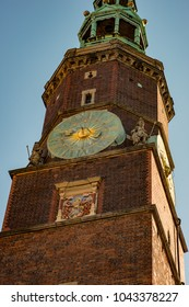 Wroclaw, Poland - March 9, 2018: Wroclaw Town Hall clock tower in morning in historic capital of Silesia, Poland, Europe.