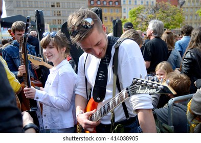 WROCLAW, POLAND - MAY 1: Unidentified group of young people play Hey Joe during Thanks Jimi Festival on 1st May 2016 in Wroclaw, Poland.