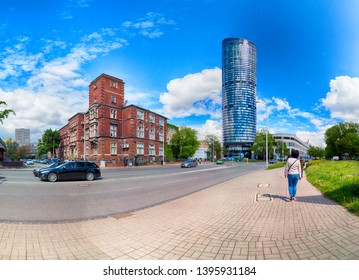 WROCLAW, POLAND - MAY 10, 2019: Sky Tower Shopping Center in Wroclaw. The whole complex also has an office part and the highest residential tower in Poland (212m). A unique architectural project.