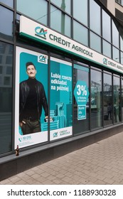 WROCLAW, POLAND - MAY 11, 2018: Credit Agricole bank branch in Wroclaw, Poland. There are 36 banking companies present in Poland (2018).