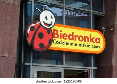 WROCLAW, POLAND - MAY 11, 2018: Biedronka supermarket sign in Wroclaw, Poland. Biedronka is one of largest retail chains in Poland, with more than 2,700 stores.