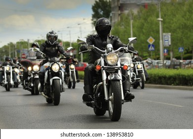 WROCLAW, POLAND - MAY 18: Harley-Davidson motorbikes parade during the European Federation of Harley-Davidson Clubs Super Rally 2013 on May 18, 2013 in Wroclaw, Poland