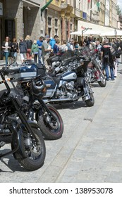 """WROCLAW, POLAND - MAY 18: View of Harley Davidson motorcycle parked in the city during """"Harley-Davidson Super Rally 2013"""" on 18, 2013 in Wroclaw, Poland. Europe's largest 5 day motorcycle event"""