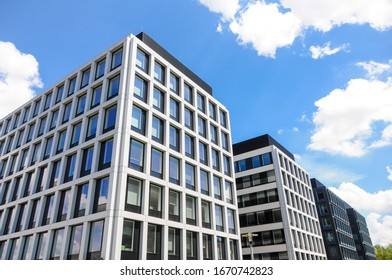 WROCLAW, POLAND - MAY, 2019: Exterior of a modern office buildings in a new contemporary business center. Real estate business concept. Office for rent. Rent and sell concept. The urban landscape.