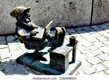 Wroclaw, Poland - May 20,2018: Wroclaw's dwarfs are small figurines that first appeared in Wroclaw in 2005, numbers have been continually growing, and today they are considered a tourist attraction.