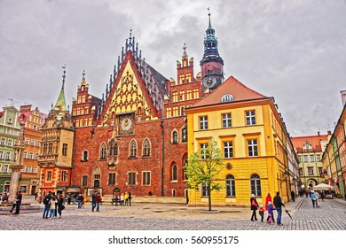 Wroclaw, Poland - May 3, 2014: People at Old Town Hall of the Market Square in Wroclaw, Poland.