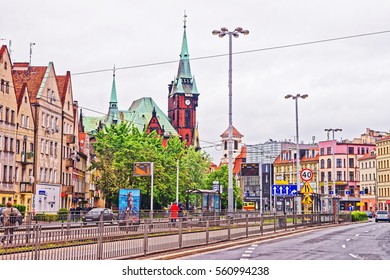 Wroclaw, Poland - May 3, 2014: Street view on University Library in Wroclaw, Poland. People on the background