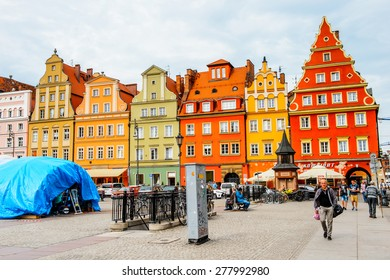 WROCLAW, POLAND - MAY 5, 2015: Architecture of the Market square in Wroclaw, Poland. Wroclaw is the historical capital of Silesia and Lower Silesia