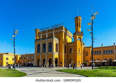 WROCLAW, POLAND - MAY 6, 2018:  Wroclaw Main Railway Station, located in the 19th century building recently generally renovated, the largest railway station of the Lower Silesian Voivodeship.