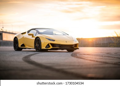 Wroclaw, Poland - May 6, 2020: Yellow parked lamborghini Huracan. It is a dream car with beautiful italian design.