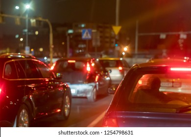 Wroclaw, Poland. Wroclaw at night. Piston on the streets. Car traffic jams.