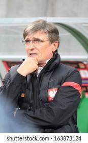 WROCLAW, POLAND - NOVEMBER 15: Adam Nawalka, new coach of Poland national football team during friendly football match between Poland and Slovakia on November 15, 2013 in Wroclaw, Poland.