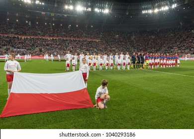 WROCLAW, POLAND - NOVEMBER 17, 2015: International Football friendly match: Poland vs Czech Republic. Flag of Poland and teams before match.