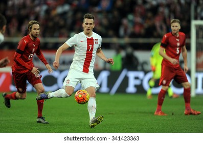 WROCLAW, POLAND - NOVEMBER 17, 2015: EURO 2016 European Championship friendly game Poland - Czech Republic o/p Jaroslav Plasil, Arkadiusz Milik