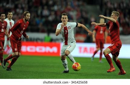WROCLAW, POLAND - NOVEMBER 17, 2015: EURO 2016 European Championship friendly game Poland - Czech Republic o/p Jaroslaw Plasil, Arkadiusz Milik, Vaclav Prochazka