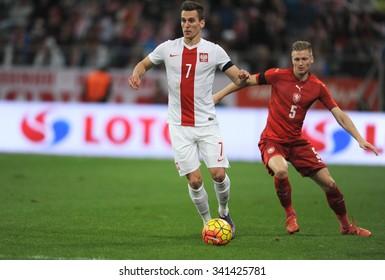 WROCLAW, POLAND - NOVEMBER 17, 2015: EURO 2016 European Championship friendly game Poland - Czech Republic o/p Arkadiusz Milik, Vaclav Prochazka