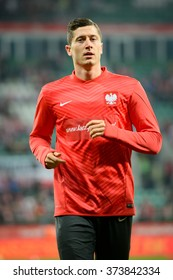 WROCLAW, POLAND - NOVEMBER 18, 2014:  Robert Lewandowski before match Poland - Switzerland 2:2.