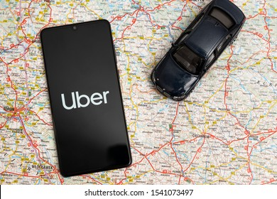 Wroclaw, Poland - OCT 23, 2019: Uber logo on Huawei P30. Uber is sharing-economy service for ubran transport.