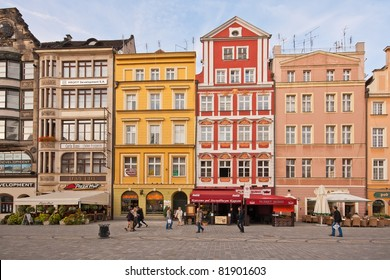WROCLAW, POLAND - OCT 7: Tenements on Main Market Square on October 7, 2009 in Wroclaw, Poland. With 11 streets leading to it, it's one of the largest medieval squares in Europe: 175 by 105 meters.