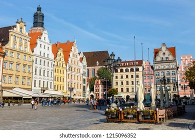 Wroclaw, Poland, October 07, 2018: Morning scene on Wroclaw Market Square with Town Hall, Poland