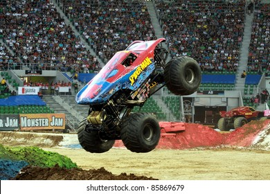 WROCLAW, POLAND - OCTOBER 1: Monster Jam show with Spider-Man truck on October 1, 2011 in Wroclaw