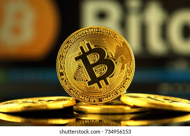 WROCLAW, POLAND - OCTOBER 14, 2017: High interest in bitcoin, new virtual money. Conceptual image for worldwide cryptocurrency and digital payment system (first decentralized digital currency).