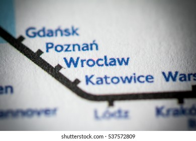 Wroclaw, Poland on a geographical map.