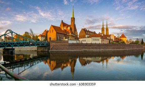 "Wroclaw, Poland- Panorama of the historic and historic part of the old town ""Ostrow Tumski"""