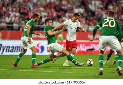 WROCLAW, POLAND - SEPTEMBER 11, 2018: International friendly game between Poland and Republic of Irelando/p: Kevin Long (Republic of Ireland) Arkadiusz Milik (Poland)