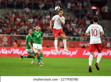 WROCLAW, POLAND - SEPTEMBER 11, 2018: International friendly game between Poland and Republic of Irelando/p: Arkadiusz Milik (Poland)