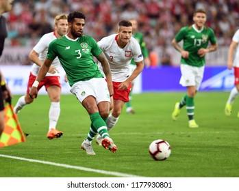 WROCLAW, POLAND - SEPTEMBER 11, 2018: International friendly game between Poland and Republic of Irelando/p: Cyrus Christie (Republic of Ireland)