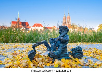Wroclaw, Poland, September 2018. Wroclaw Dwarf, Gnome sculpture. Symbol of Wroclaw. There are around 400 of dwarves in the city.