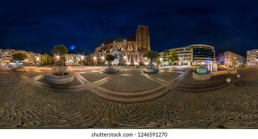 WROCLAW, POLAND - SEPTEMBER, 2018: full seamless spherical night panorama 360 degrees district Ostrow Tumski with spires of gothic cathedral 360 panorama in equirectangular projection, AR VR content