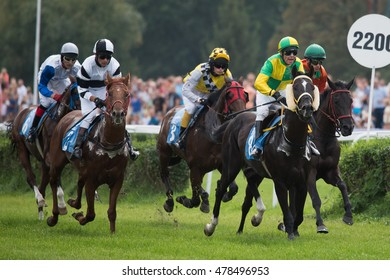 WROCLAW, POLAND - SEPTEMBER 4; 2016: Race for the 3-year and older horses Group IV at Racecourse WTWK Partynice. In action  D. Andres (8) on the horse Tabor.