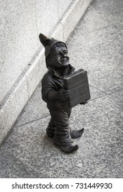 WROCLAW, POLAND - SEPTEMBER 9, 2017: A little gnome bronze statue in the city
