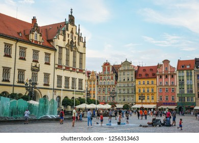 Wroclaw; Poland-June 29; 2018: Market square on a summer evening in the old town.