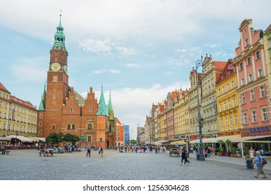 Wroclaw; Poland-June 29; 2018:; Town Hall of the city of Wroclaw in the old town on the market square.