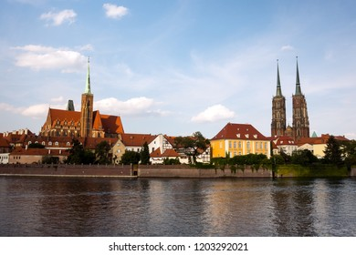 Wroclaw View at Tumski island and Cathedral of St John the Baptist. Poland.