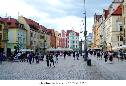 Wroclaw/Poland - 2 July 2018: The Old Town Wroclaw, Poland. Wroclaw is a city on the Oder River in western Poland. The beautiful summer day in Wroclaw.