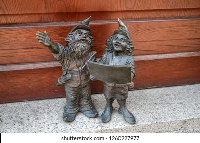 Wroclaw/Poland - August 2 2018: Architects dwarfs gnomes sculpture, symbol of Wroclaw