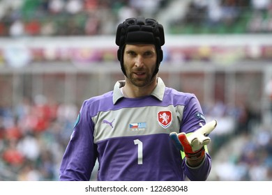 WROCLAW,POLAND- JUNE 12,2012: Petr Cech during the game between Greece and Czech Republic for Euro 2012 in Wroclaw on June 12,2012