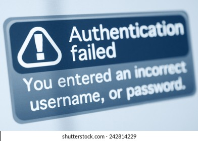 Wrong Password - Authentication failed sign on monitor display