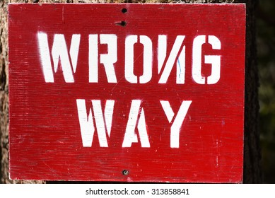 Wrong way sign with backwards N.