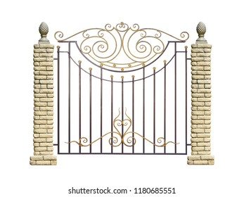 Wrought fence with pillar  in old  stiletto. Isolated over white background.