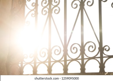wrought iron bars on the windows in the old church