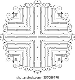 Wrought Iron Fireplace Grill Raster Illustration
